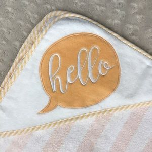 Cloud Island Hooded Baby Towel Hello Orange White